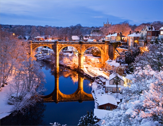 Viaduct and River Nidd in Winter