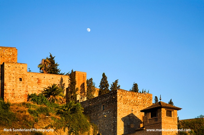 Moon Rising over the Alcazaba in Malaga