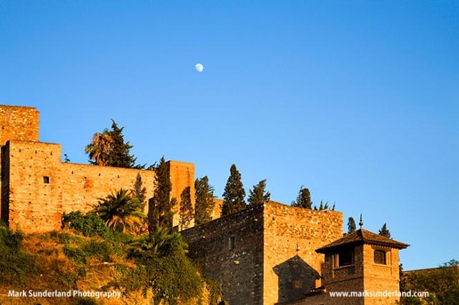 Moon Rising over the Alcazaba in Malaga