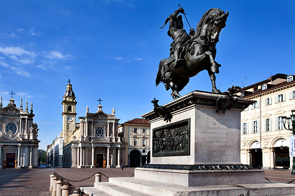Emanuele Filiberto Statue and Santa Cristina and San Carlo Churches in Piazza San Carlo