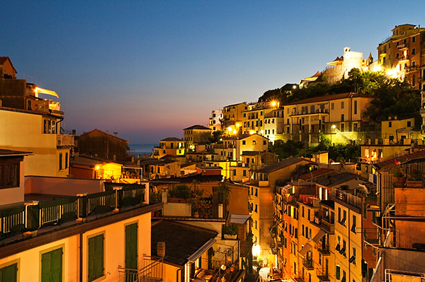 Riomaggiore Rooftops and the Castle at Dusk