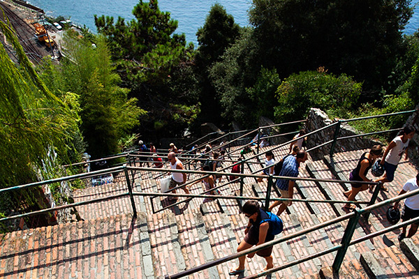 Climbing the Steps from the Railway Station to the Town Centre at Corniglia