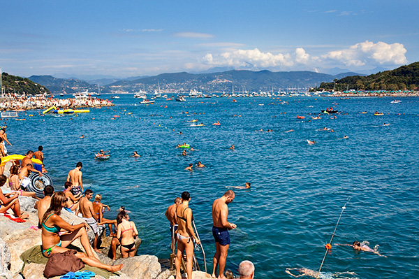Swimmers at the Piscina Naturale Event between Porto Venere and Palmaria Island closed to Maritime Traffic 24 August 2013