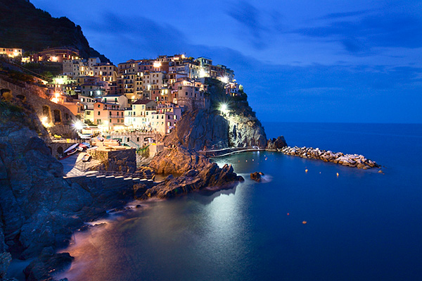 The Cinque Terre Village of Manarola at Dusk