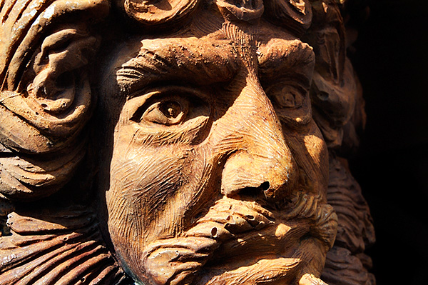 Wood Carved Face Detail on the Neptune Galleon at the Old Port Genoa