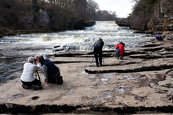 Photographing Lower Aysgarth Falls on the April Aysgarth Workshop