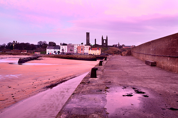 St Andrews Harbour and Cathedral at Dawn