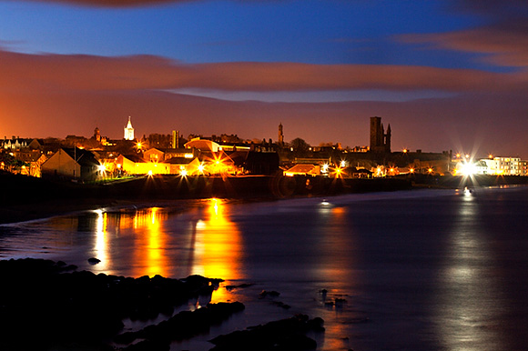 St Andrews at Dusk from the Fife Coastal Path above East Sands