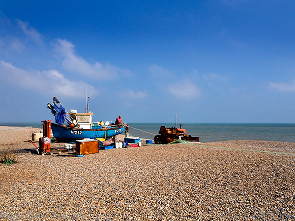 Fishing Boat and Tractor on the Shingle Beach