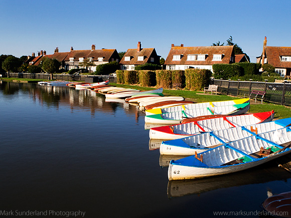 Colourful Rowing Boats on The Meare at Thorpeness