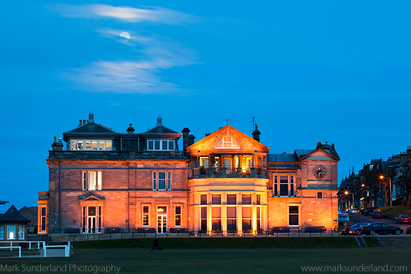 Moonrise over the Royal and Ancient Golf Club St Andrews Fife Scotland
