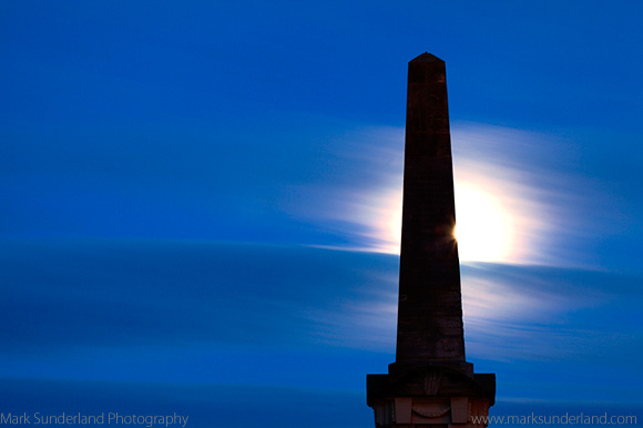 Moonrise behind the Martyrs Monument St Andrews Fife Scotland