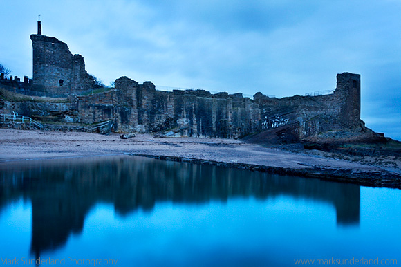 St Andrews Castle Reflected in the Bathing Pond before Dawn St Andrews Fife Scotland