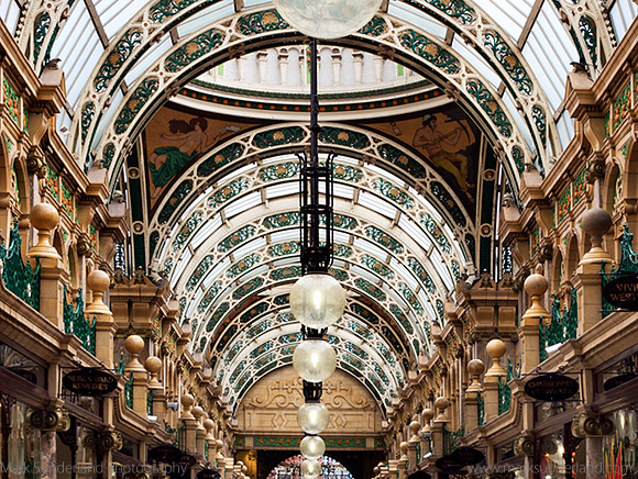 Ornate Glass Roof at The County Arcade in the Victoria Quarter, Leeds, West Yorkshire, England