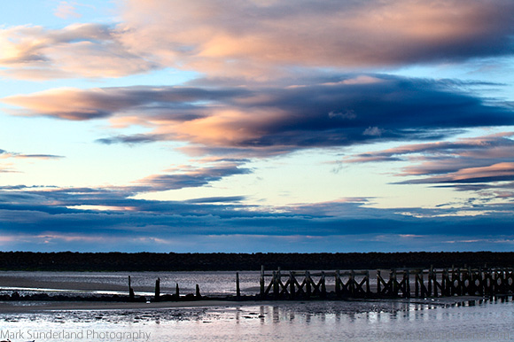 Pink Clouds over an Old Breakwater in the Coquet Estuary at Dusk
