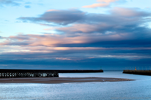 Amble Harbour Entrance and Coquet Estuary at Dusk