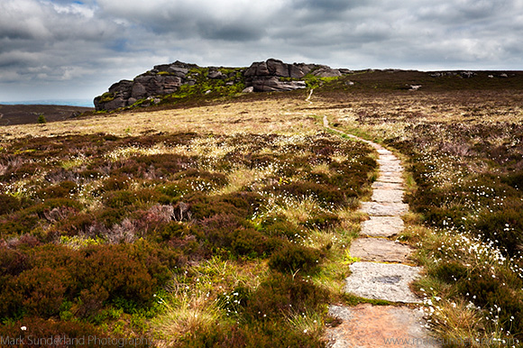 Path over the Simonside Hills approaching Old Stell Crag near Rothbury Northumberland England