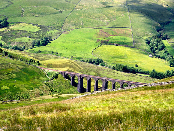 Artengill Viaduct from Great Knoutberry Hill in Dentdale Yorkshire Dales Cumbria England