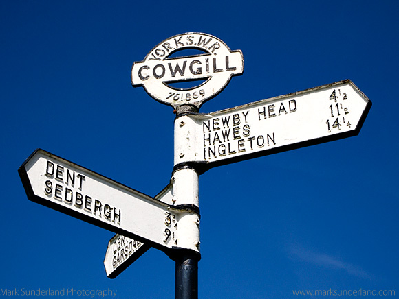 Old Yorkshire West Riding Signpost at Cowgill in Dentdale Yorkshire Dales Cumbria England