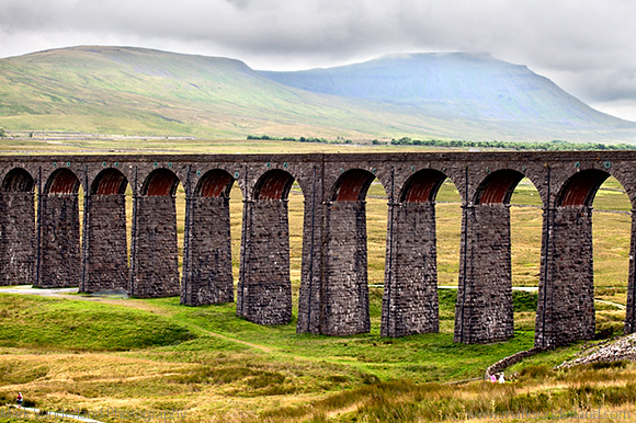 Arches of the Ribblehead Viaduct with Ingleborough behind