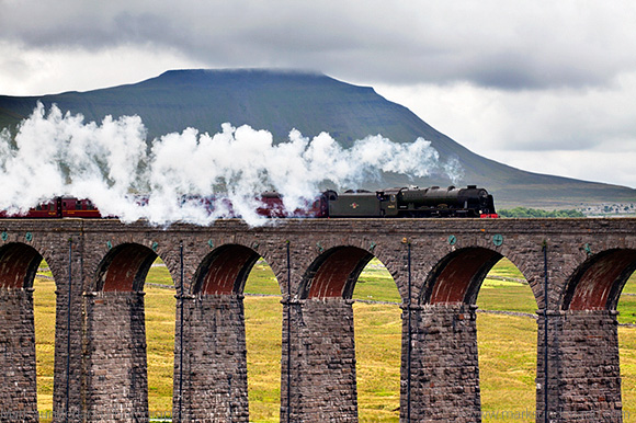 Steam Train Hauled by The Scots Guardsman on the Ribblehead Viad
