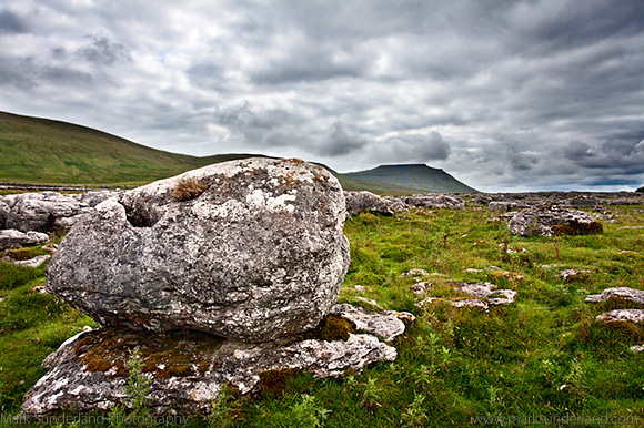 Boulder at Sleights Pasture Rocks with Ingleborough near Ribbleh