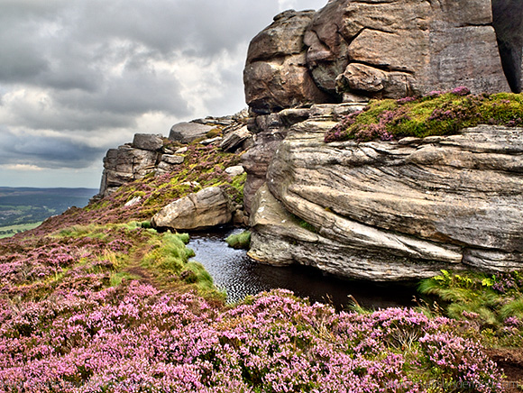 Old Stell Crag in the Simonside Hills in Summer Rothbury Northumberland England