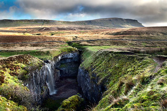 Waterfall at Hull Pot and Pen Y Ghent