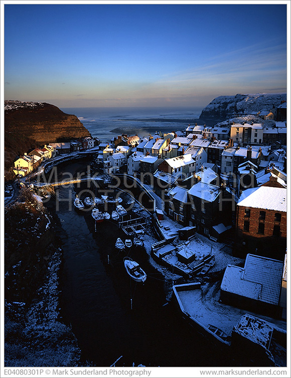 Snow Covered Rooftops at Staithes, Yorkshire, England © Mark Sunderland Photography