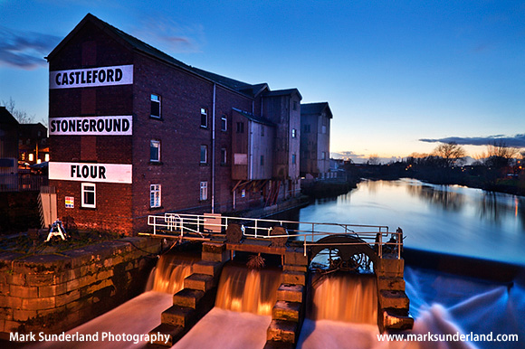 Queens Mill in Twilight Castleford Yorkshire England The Mill previously known as Allinsons Mill was once the worlds largest stone grinding flour mill with twenty pairs of grinding stones