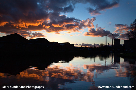 Ferrybridge Power Station Reflected in the Aire and Calder Navigation at Sunset Ferrybridge West Yorkshire England