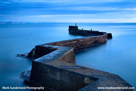 Zig Zag Breakwater at Dusk St Monans East Neuk of Fife Scotland