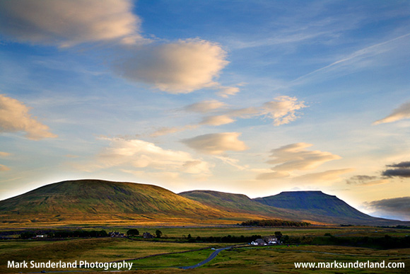 Park Fell Simon Fell and Ingleborough from Ribblehead at sunset in summer Yorkshire Dales England