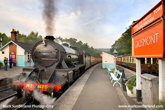 Steam Locomotive at Grosmont Station North York Moors Railway North Yorkshire England