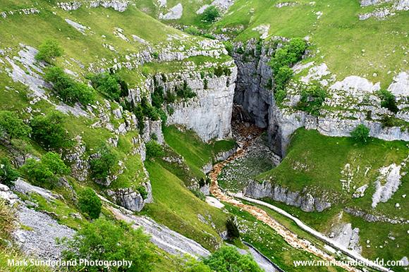 Gordale Scar Limestone Gorge near Malham Yorkshire Dales England