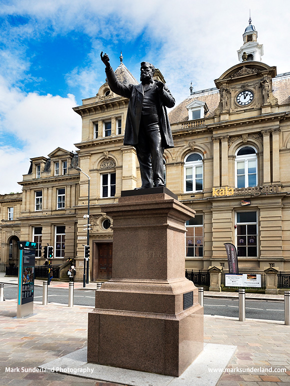 Statue of industrialist and MP William Edward Forster in Forster Square Bradford West Yorkshire England