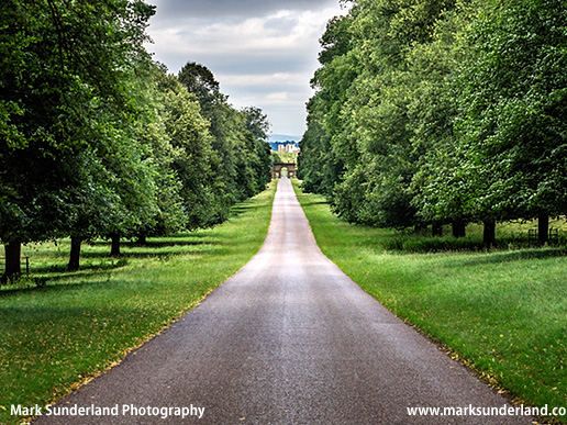 View along an Avenue to the Gate at Studley Roger with Ripon Cathedral Beyond at Studley Park Ripon North Yorkshire England