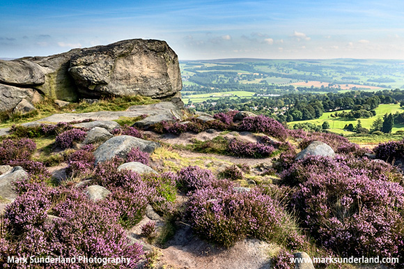 View over Wharfedale from Cow and Calf Rocks on Ilkley Moor West Yorkshire England
