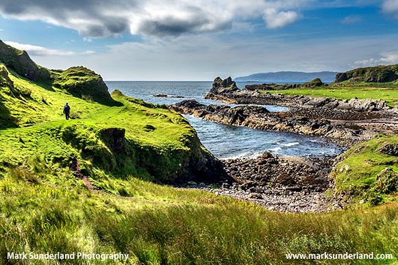 Lone Walker at Port a Chaisteil on the Isle of Kerrera Argyll and Bute Scotland