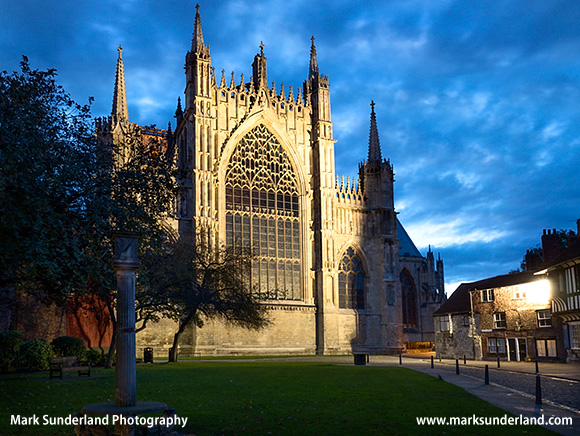 Restored East Front of York Minster at Dusk