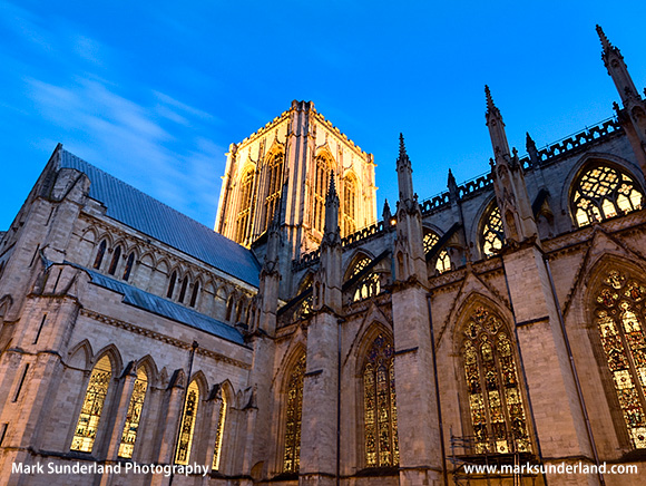 Floodlit York Minster at Dusk from Deans Park Yorkshire England