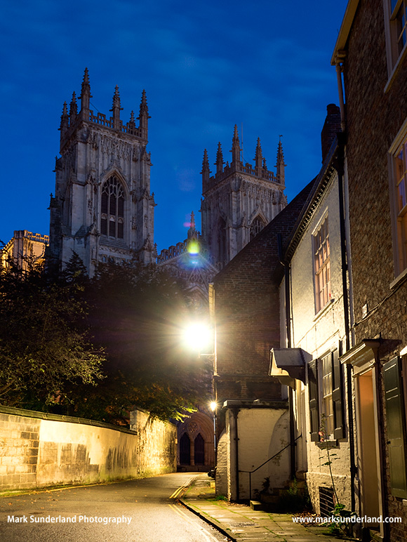 York Minster from Precentors Court at Dusk Yorkshire England