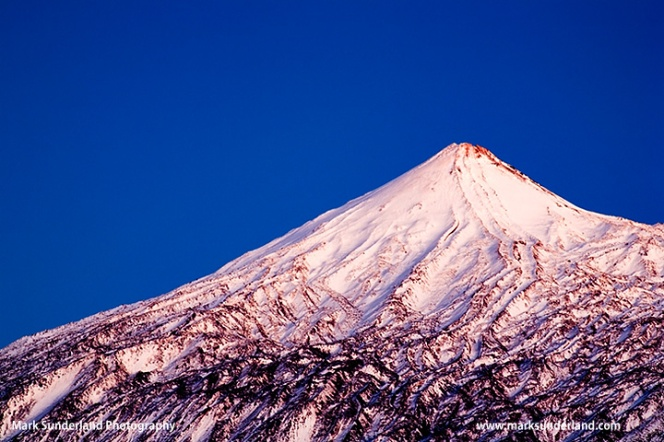 Mount Teide in Twilight after a Snowfall in Winter Tenerife Canary Islands Spain