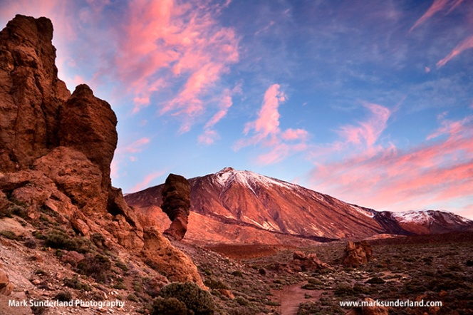 Pink Clouds at Dawn over Mount Teide in Parque Nacional del Teide Tenerife Spain