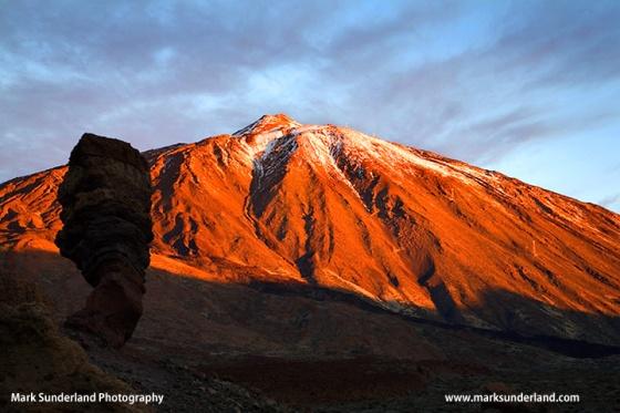 Roque Cinchado and Mount Teide at Sunrise in Parque Nacional del Teide Tenerife Spain