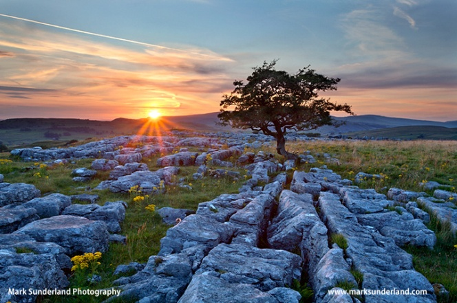 Sunset at Winskill Stones near Settle, Ribblesdale, Yorkshire Dales