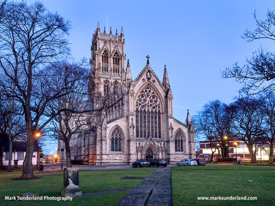 The Minster Church of St George at Dusk Doncaster South Yorkshire England