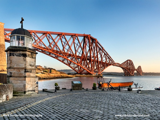 Forth Bridge from the Harbour Light Tower the Worlds Smallest Working Lighthouse North Queensferry Fife Scotland