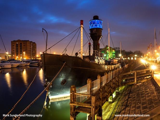 Spurn Light Ship at Dusk in Hull