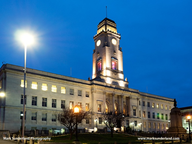 Barnsley Town Hall at Dusk